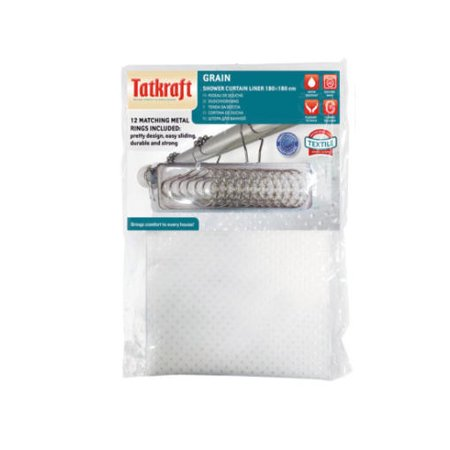 Tatkraft Grain Textile Shower Curtain Liner with Matching Rings,