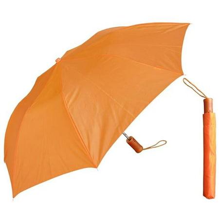 42 in. Auto Open Deluxe Orange Umbrella with Wood Handle, 6 (Boston Red Sox Umbrella)