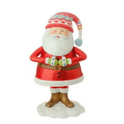 """7.5"""" Red and White Santa Holding Tummy Glitter Drenched Christmas Figurine"""