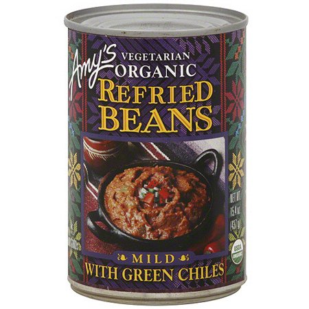 Taco Bell Refried Beans - Amy's Refried Beans With Green Chiles, 15.4 oz (Pack of 12)