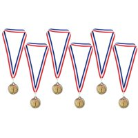 Gold Medals - 6-Pack Metal Olympic Style Winner Awards, Perfect For Sports, Competitions, Spelling Bees, Party Favors, 2.75 Inches Diameter With 16.3 Inch Usa Ribbon