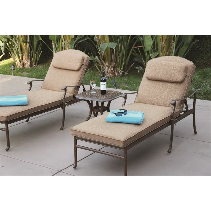 Darlee Sedona 3 Piece Patio Chaise Lounge Set with Cushion