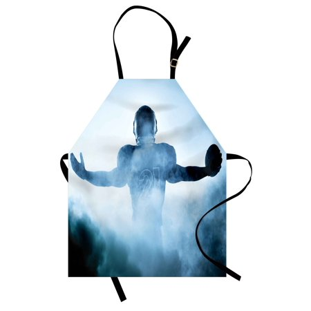 (Sport Apron Heroic Shaped Rugby Player Silhouette Shadow Standing in Fog Playground Global Sports Photo, Unisex Kitchen Bib Apron with Adjustable Neck for Cooking Baking Gardening, Blue, by Ambesonne)