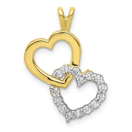 10k Yellow Gold Round Cubic Zirconia Double Heart Pendant Fine Jewelry Ideal Gifts 96w 10k Compact