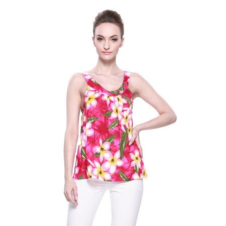 Aloha Fashion Women's Hawaiian Floral Tank Top in Pink with Yellow (Fashion Iland)