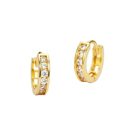 14k Yellow Gold 11mm x 2.5mm Channel Huggie Children Baby Girls Earrings