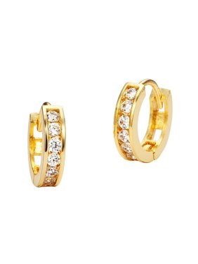 Product Image 14k Yellow Gold 11mm X 2 5mm Channel Huggie Children Baby S Earrings