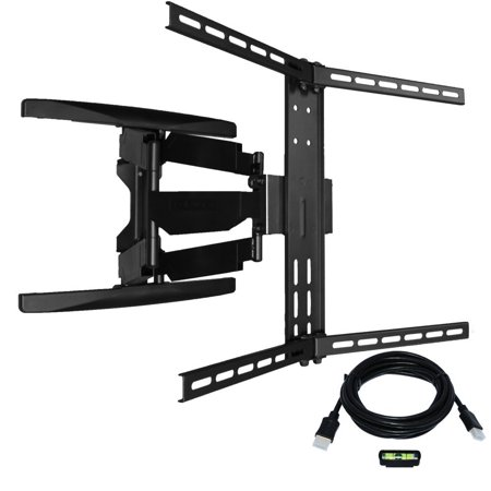 Full motion Articulating TV Wall Mount/ TV Bracket for Curved & Flat Panel TV, Fits 32 to 80″ TVs 600X400 VESA Inc 10ft HDMI Cable and Bubble Level- Koramzi KWM3664AT-PRO