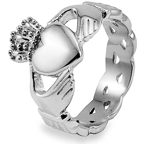 Crucible Stainless Steel Claddagh Ring with Celtic Knot Eternity Design
