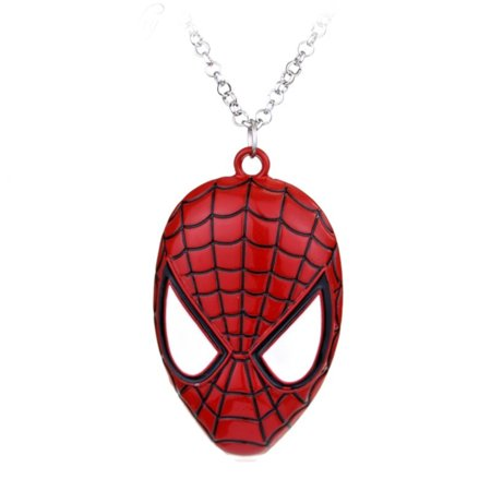 Spiderman Superhero Mask Anti-Tarnish Pendant Necklace Jewelry,