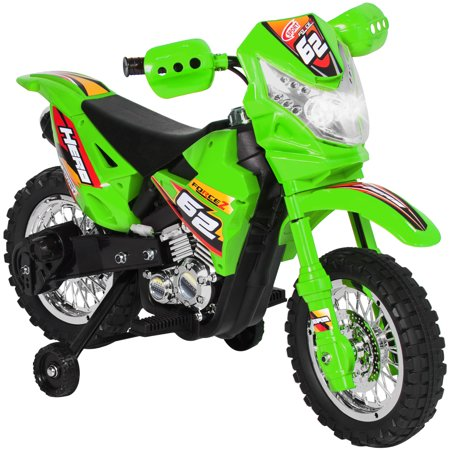 - Best Choice Products 6V Kids Electric Battery-Powered Ride-On Motorcycle Dirt Bike Toy w/ 2mph Max Speed, Training Wheels, Lights, Music, Charger - Green