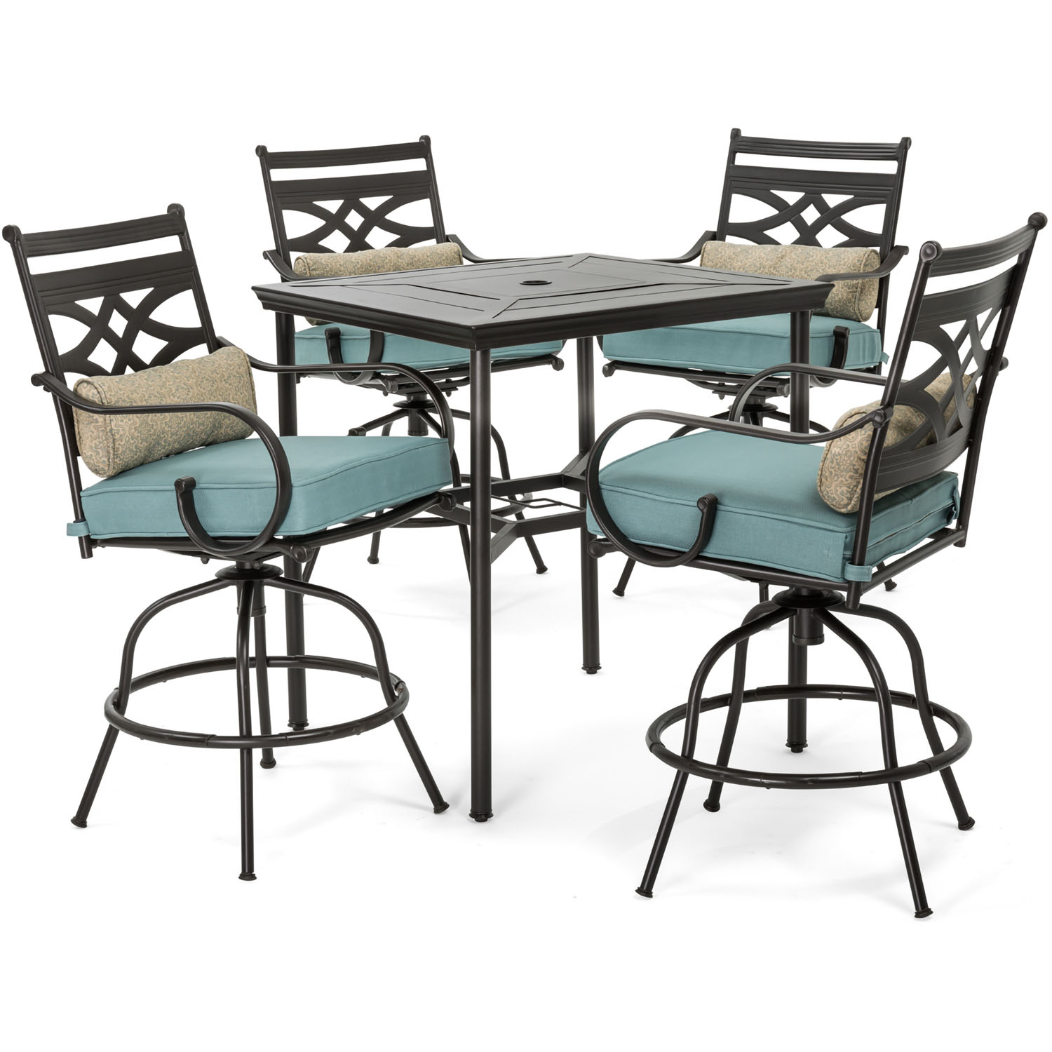 Picture of: Hanover Montclair 5 Piece High Dining Patio Set In Ocean Blue With 4 Swivel Chairs And A 33 In Counter Height Dining Table Walmart Com Walmart Com