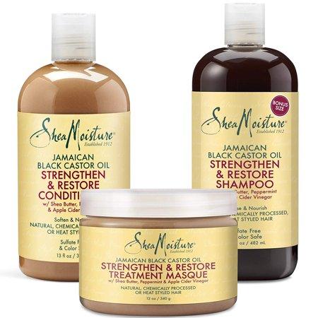 SheaMoisture Jamaican Black Castor Oil Shampoo, Condtioner, and Treatment Masque to Strengthen, Grow & Restore