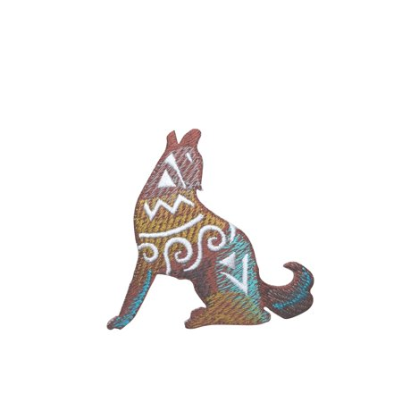 - Coyote - Wolf - Southwest Style - Iron on Applique - Embroidered Patch