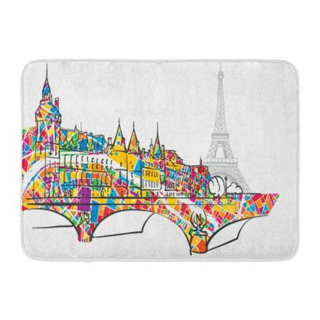 Floor 14 Halloween Tower (KDAGR Paris Urban City Bridge and Eiffel Tower Sketch Colorful Doormat Floor Rug Bath Mat 23.6x15.7)