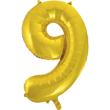 Gold Number Balloons (Foil Big Number Balloon, 9, 34 in, Gold,)