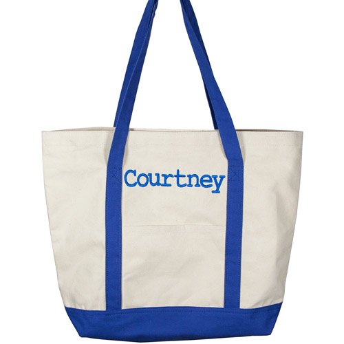 Personalized Canvas Tote Bag, Blue Name, Courier