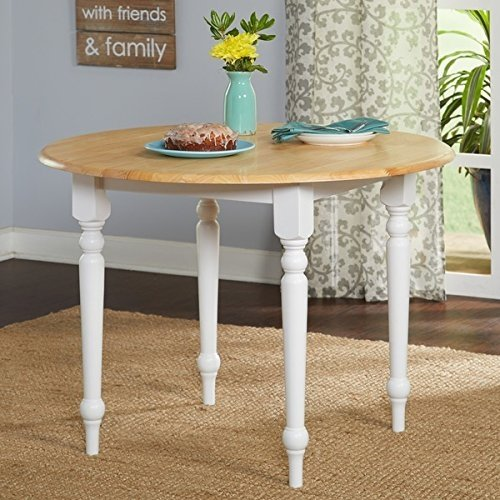 Two Tone 40 Inch Rubberwood Round Drop Leaf Table