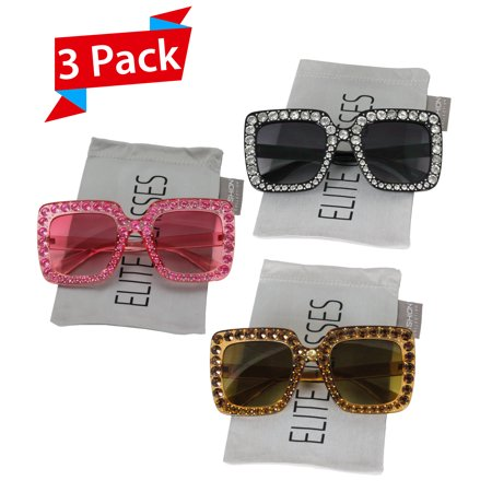 f0f30b685ac Elite Glasses - Elite Oversized Square Frame Bling Rhinestone Crystal Brand  Designer Sunglasses For Women 2018 - Walmart.com