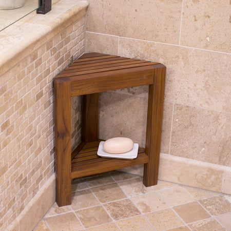 Belham Living Corner Teak Shower Bench with Shelf