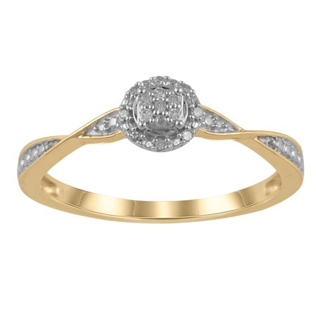 1/20 Carat T.W. JK-I2I3 diamond promise ring in 10K Yellow Gold , Size 8