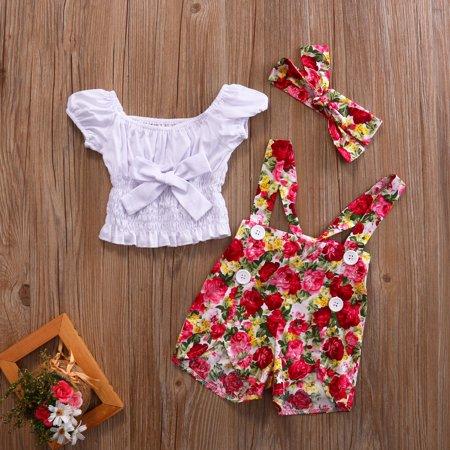 3PCS Kids Baby Girl Off Shoulder Crop Tops Floral Overalls Short Pants and Headband Sets Summer Outfits Set