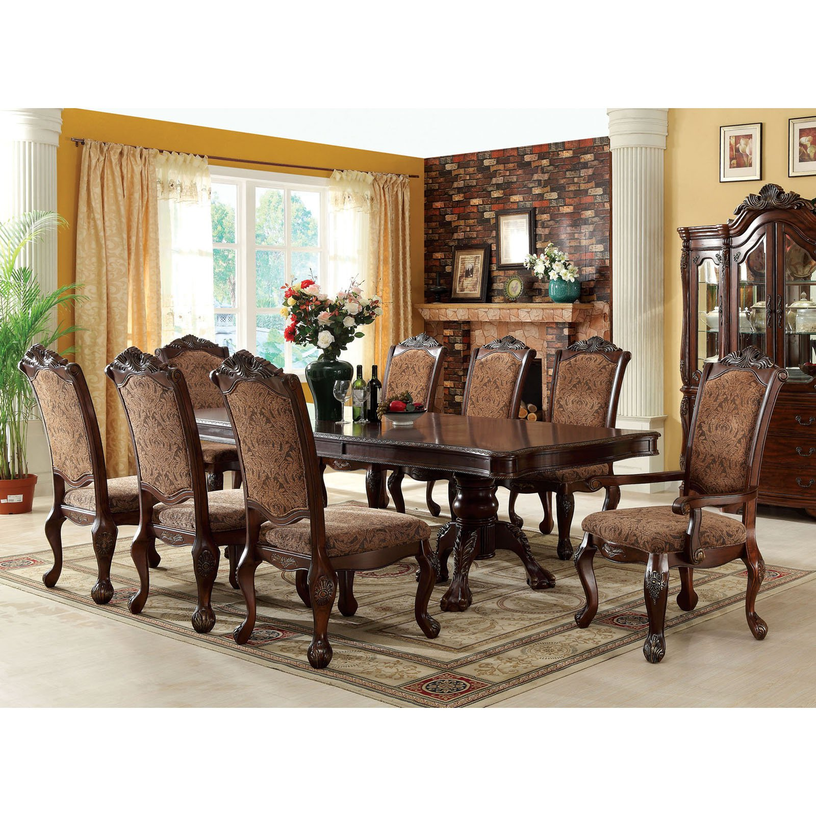 Furniture of America Guillem 9 Piece Traditional Dining Set