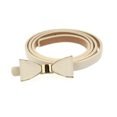 OkrayDirect Candy Leather Women Skinny Butterfly Bow Waist Belt Waistband (Best Vows For Her)
