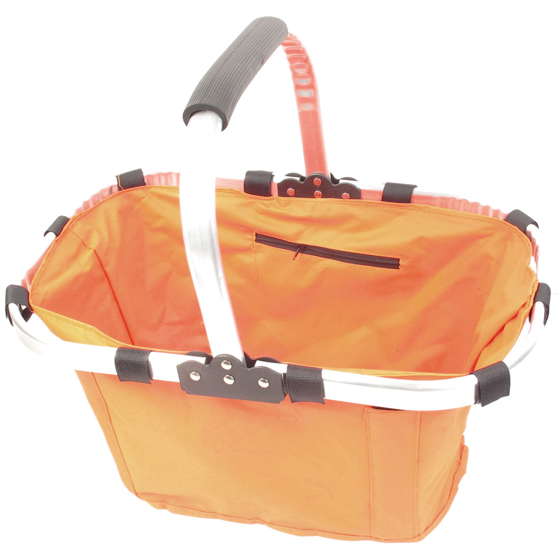 Alloy Frame Orange Foldable Eco Tote Bag Picnic Grocery Shopping Basket w Handle