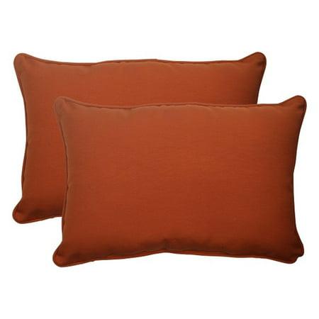 Set Of 2 Cinnamon Burnt Orange Outdoor Rectangular Throw Pillows