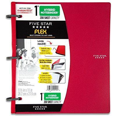 five star flex notebinder, 1 inch binder, notebook and binder all-in-one, red