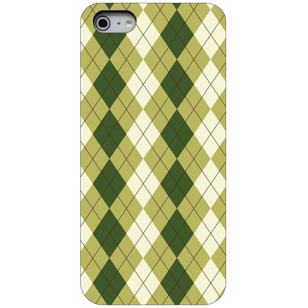 CUSTOM Black Hard Plastic Snap-On Case for Apple iPhone 5 / 5S / SE - Green White Argyle