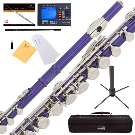 Mendini by Cecilio MFE-PL Purple Lacquer C Flute with Stand, Tuner, 1 Year  Warranty, Case, Cleaning Rod, Cloth, Joint Grease, and Gloves