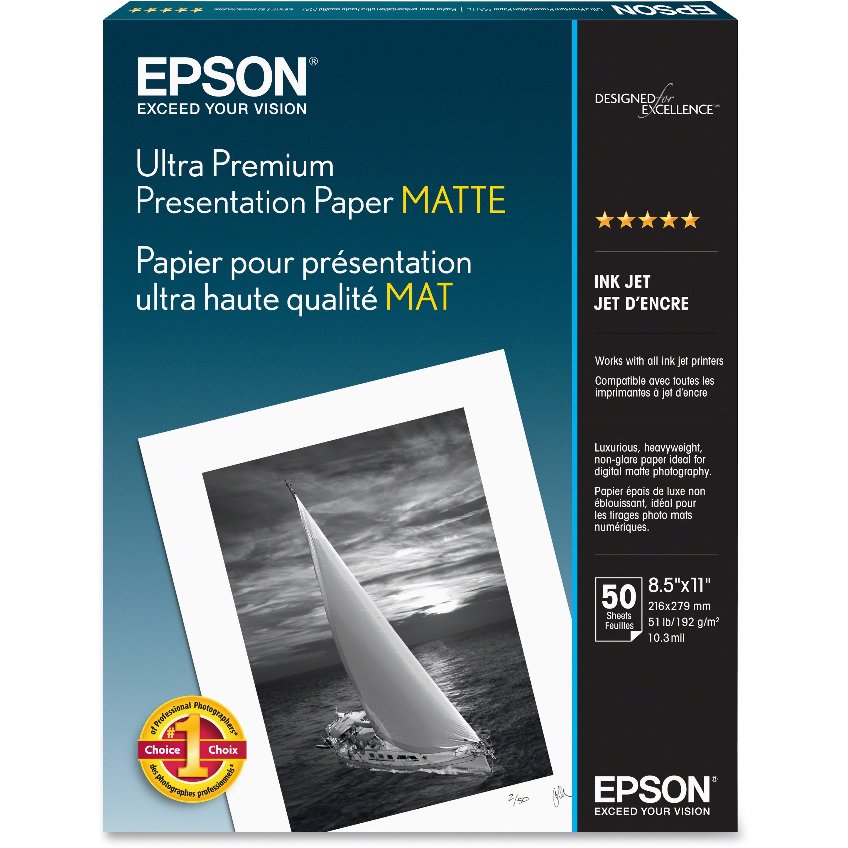 Epson, EPSS041341, Ultra Premium Matte Presentation Paper, 50 / Pack, White