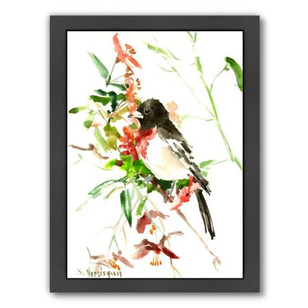 Alcott Hill Rose Breasted Grosbeak Framed Painting Print