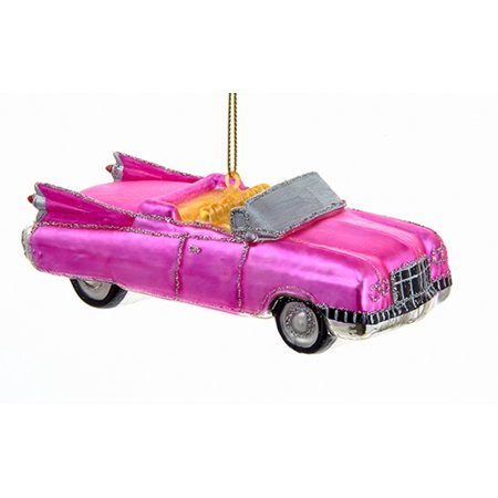 Kurt Adler Retro Look 1960s Pink Roadster Car Glass  Holiday Ornament