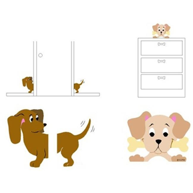 Elephants on the Wall 5-1258 Dachshund & Peeking Pooch - Paint It Yourself
