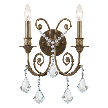 - Crystorama Clear Swarovski Elements Crystal Wrought Iron Wall Sconce - 12.5W in.