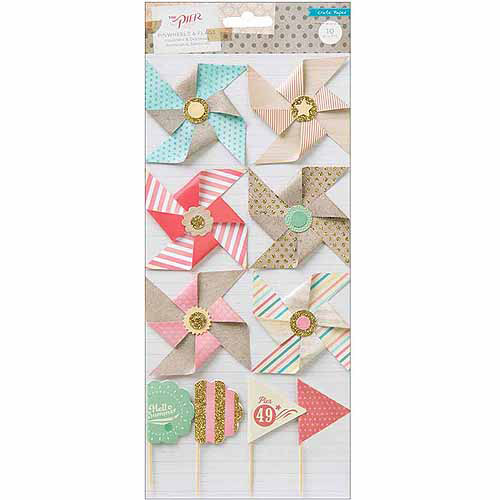 American Crafts 683202 The Pier Layered Embellishments-6 Pinwheels & 4 Flags