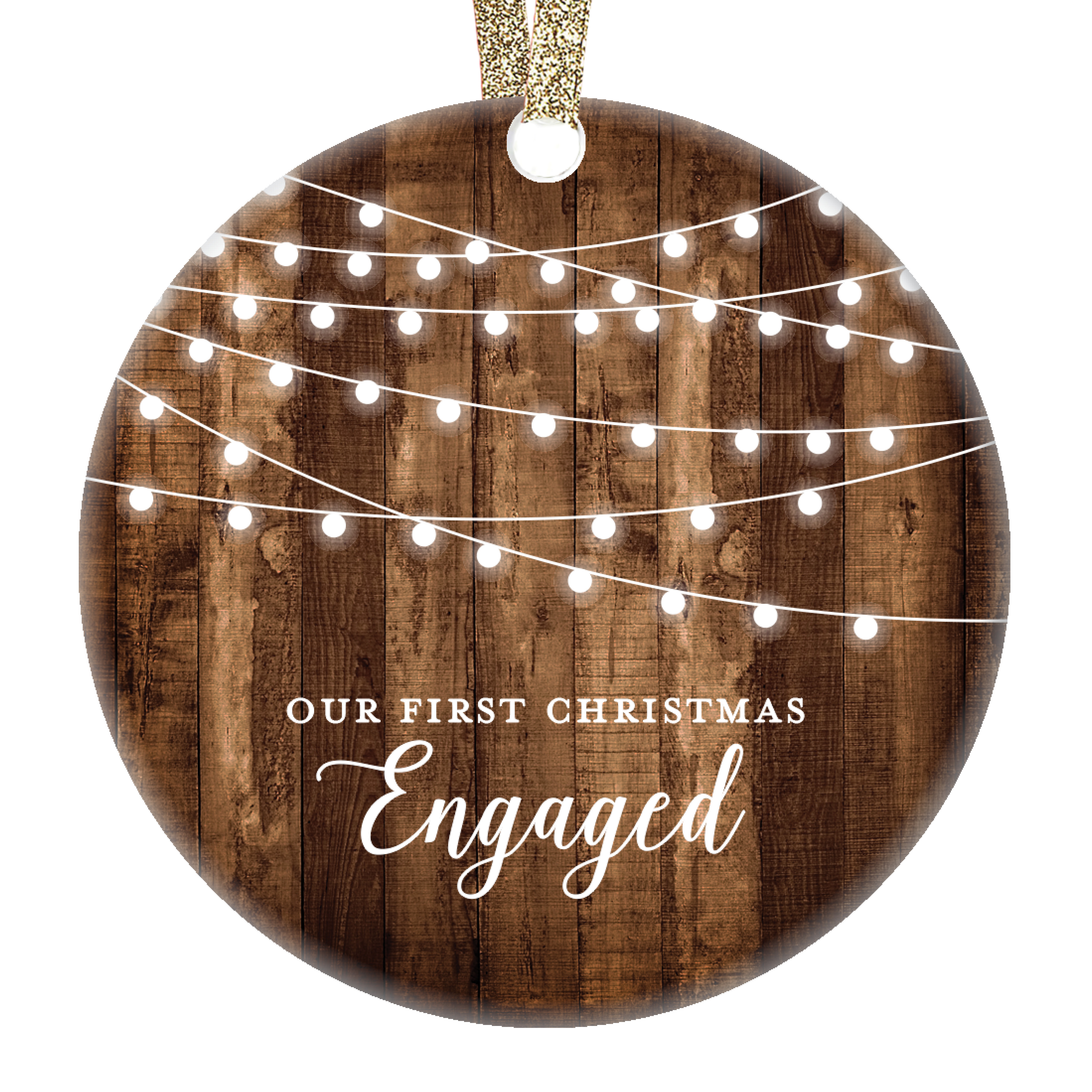 Newly Engaged Gift Personalized Wood Hanpainted Ornament Couple Gift Holiday Decor Our First Christmas Engaged Ornament Engagement Gift