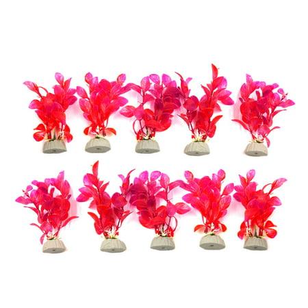 - 10pcs Red Decorative Leaves Grass Plants for Aquarium Fish Tank Landscape