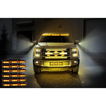 Emergency Vehicle Equipment - Zone Tech Amber 54x LED Emergency Service Vehicle Deck Grill Warning Light - 1 set