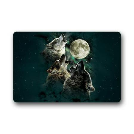 - WinHome Cool Wolf With Moon Doormat Floor Mats Rugs Outdoors/Indoor Doormat Size 23.6x15.7 inches
