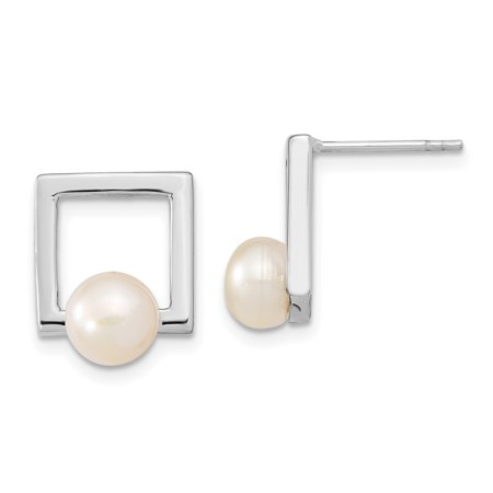 Silver Square Stud - 925 Sterling Silver 8mm Button Freshwater Cultured Pearl Square Post Stud Earrings Drop Dangle Gifts For Women For Her