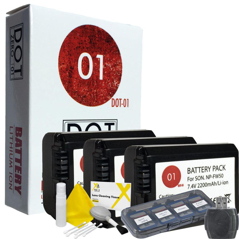 3x DOT-01 Brand 2200 mAh Replacement Sony NP-FW50 Batteri...