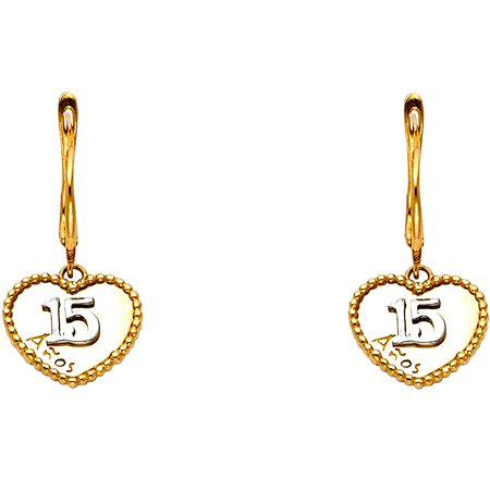 15 Anos Heart Drop Earrings Solid 14k Yellow Gold Quinceanera Drop Style Hanging Heart 20 x 12 mm