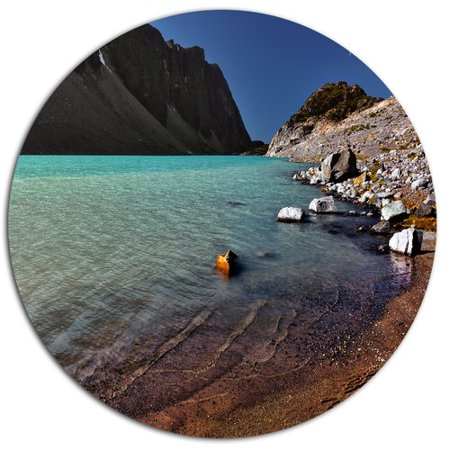 Design Art Bright Blue Waters Of Mountain Lake Photographic Print On Metal