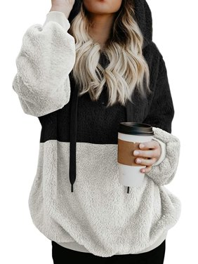 22985b4727e Product Image 711ONLINESTORE Women Fuzzy Fleece Drawstring Zipped Front  Long Sleeve Hoodies Outwear. Product Variants Selector. Black Brown Light  Grey