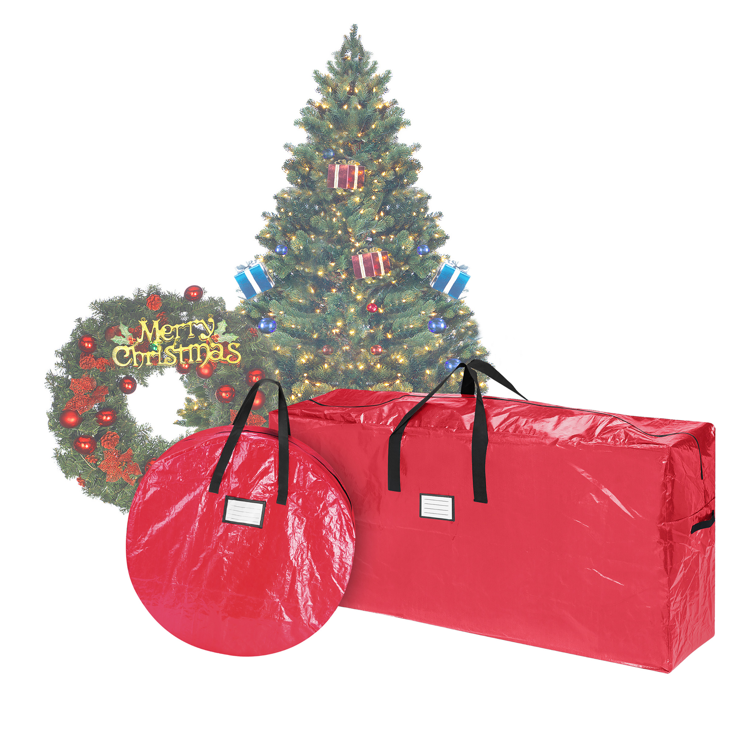 Elf Stor Storage | Combo | Christmas Tree Storage Bag & 30 Inch Wreath Bag | Red