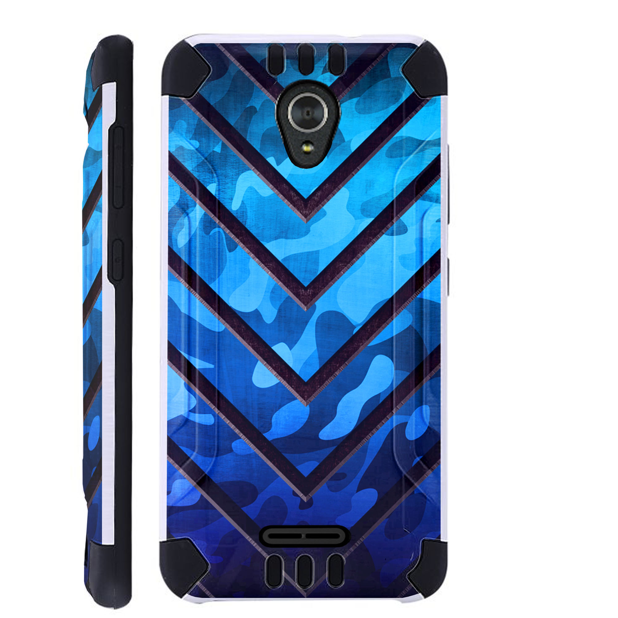 For ZTE ZMax One Case / ZTE Z Max One Case Brushed Metal Texture Hybrid TPU KombatGuard Phone Cover (Metal V Blue Print)